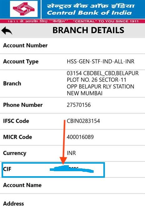 cif number in cbi app