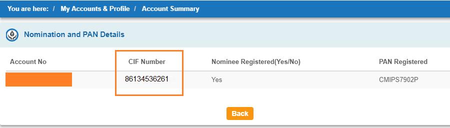 cif number online sbi