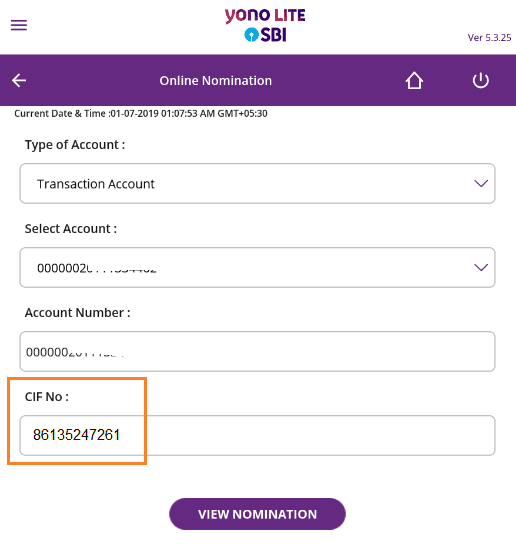 cif number in SBI Anywhere Yono Lite