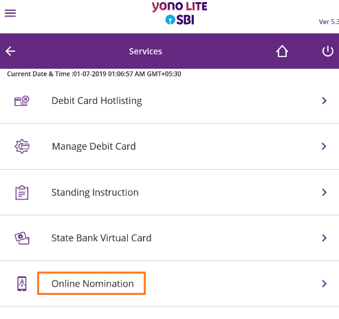 online nomination SBI Anywhere Yono Lite