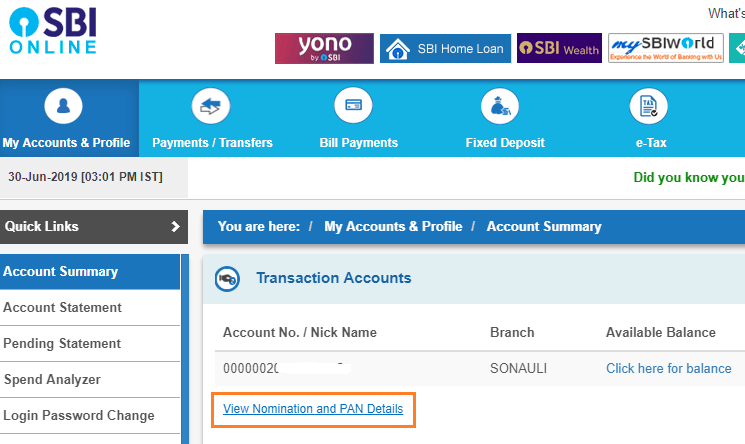 view nomination and pan details online sbi