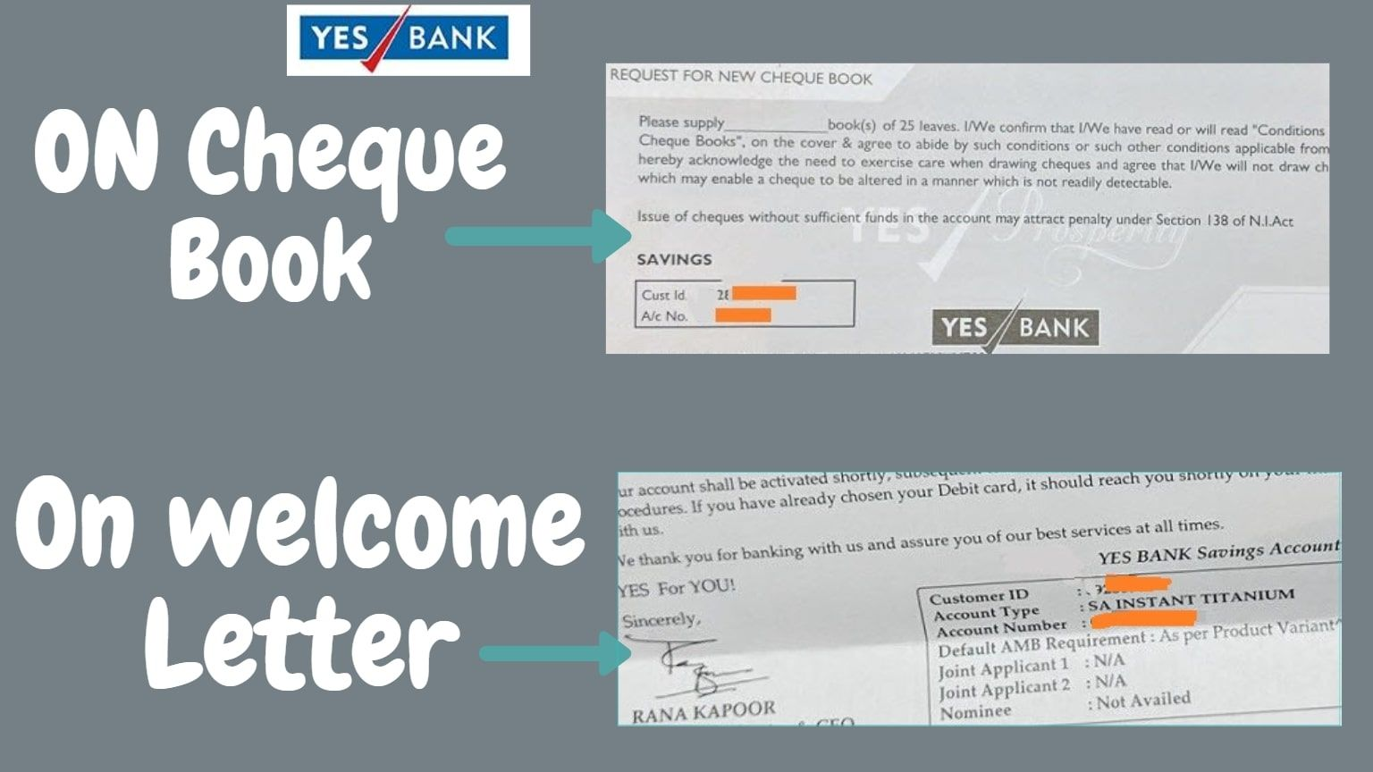 know yes bank customer id