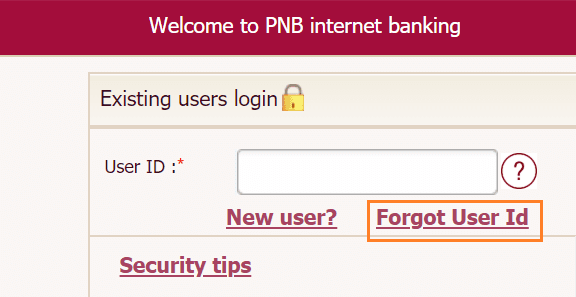 forgot user id pnb net banking