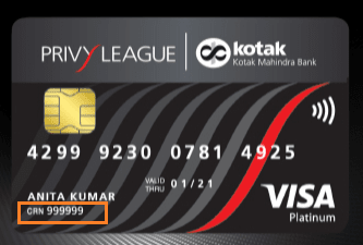 kotak crn number on debit card