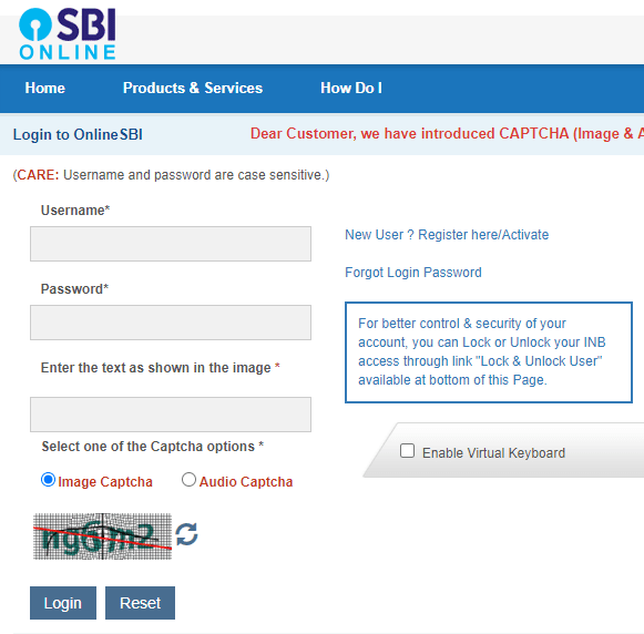 online sbi login