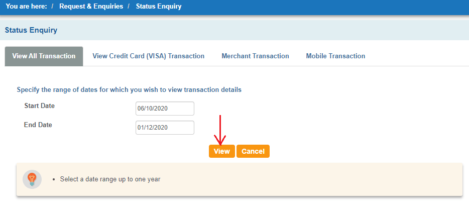 sbi transaction status enquiry by date
