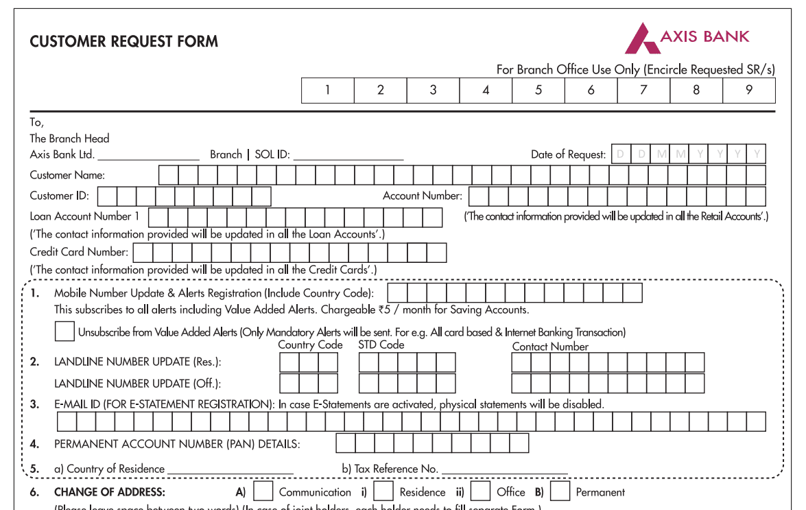axis bank mobile number update form