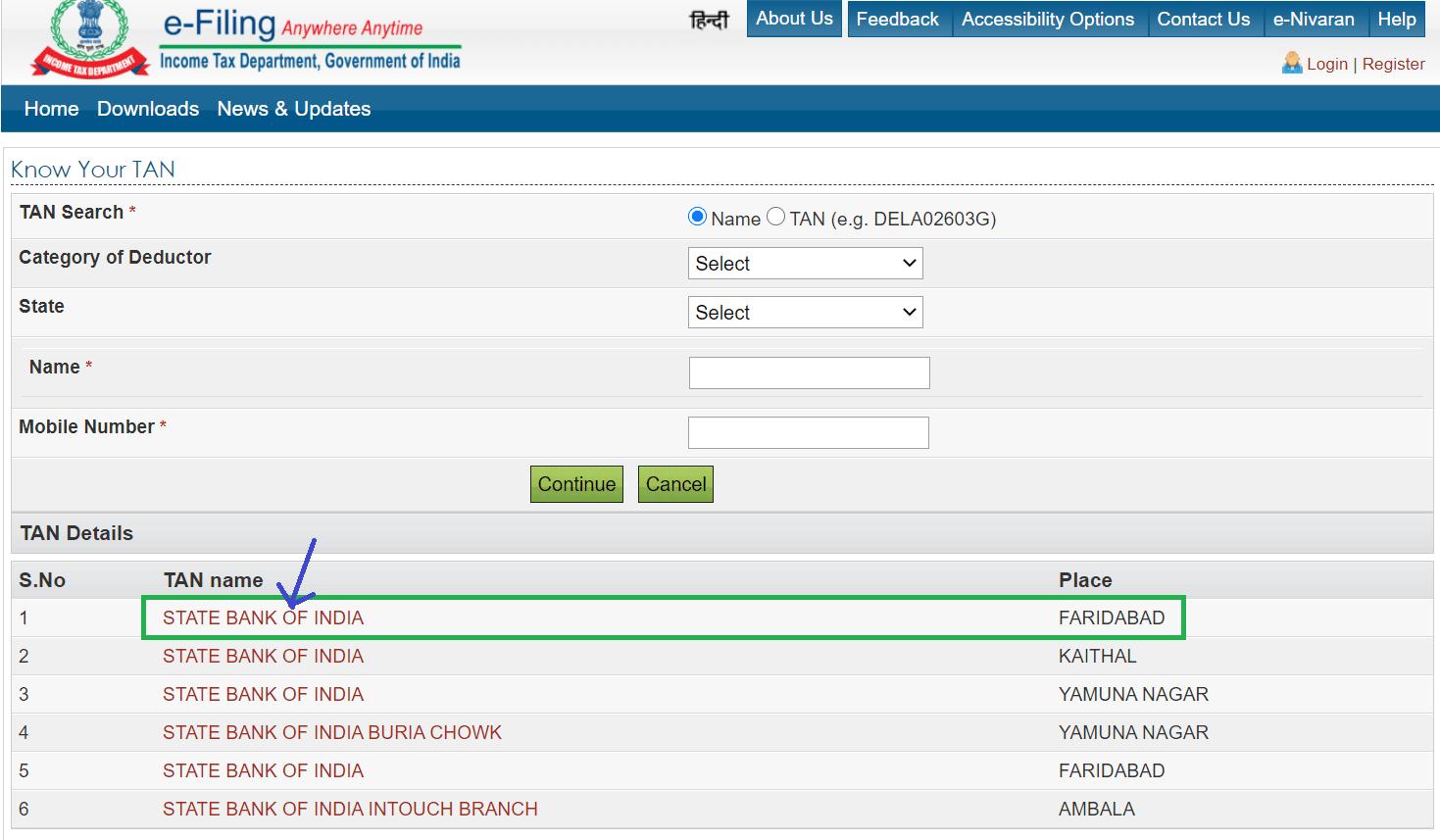 choose sbi branch for tan number