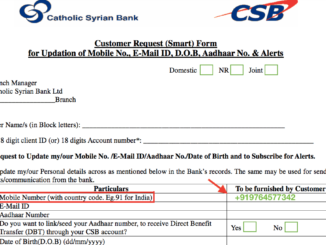 Register or Change Mobile Number in CSB Bank