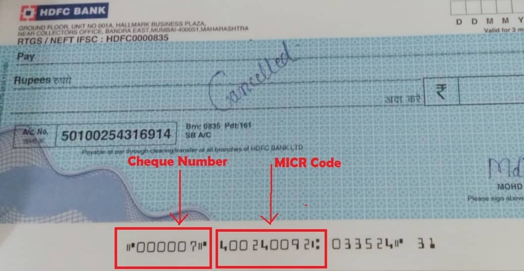Cheque Number and MICR Code in hdfc bank
