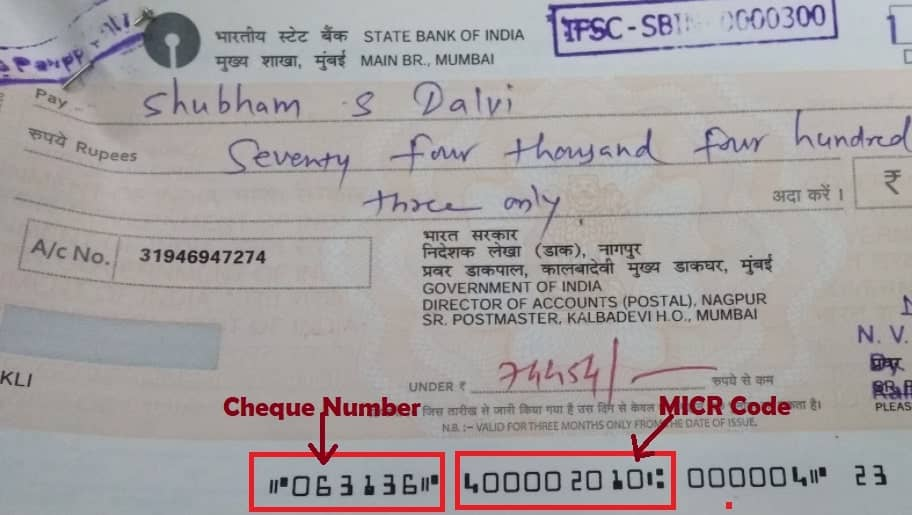 Cheque Number and MICR Code in sbi