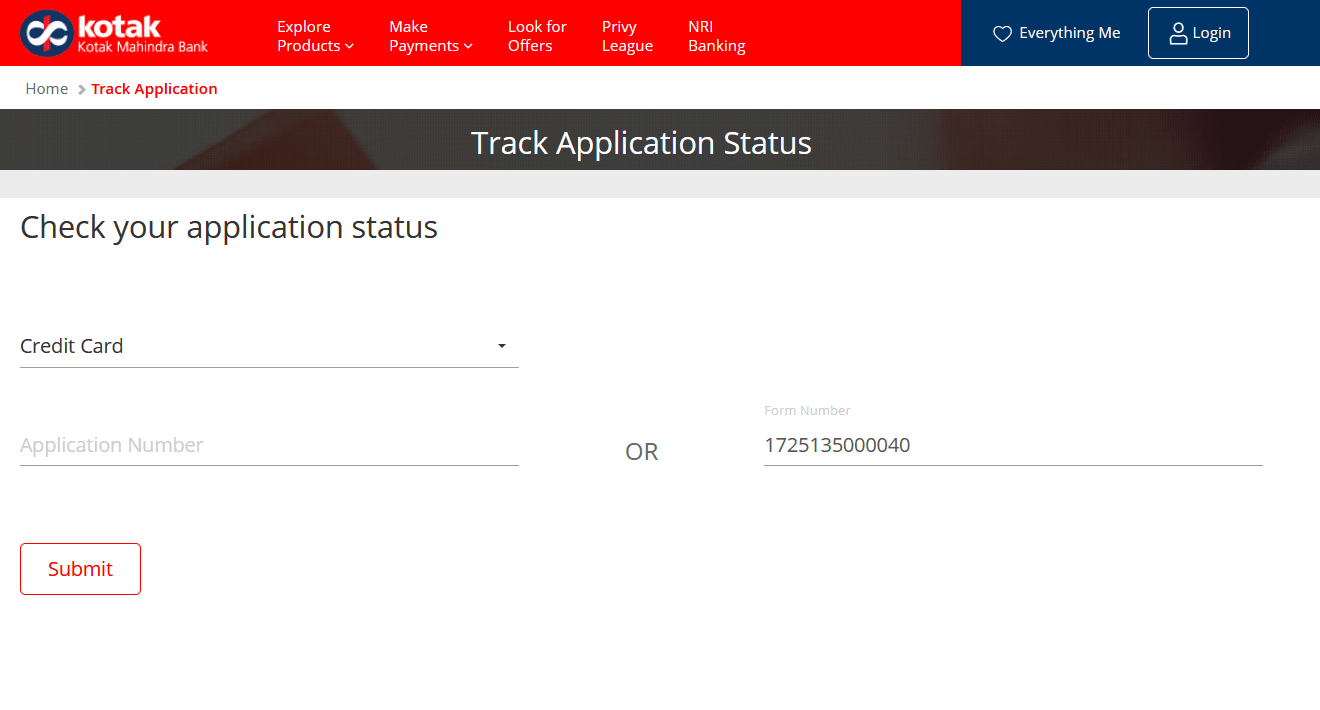 Track Kotak Mahindra Bank Credit Card Application Status Online