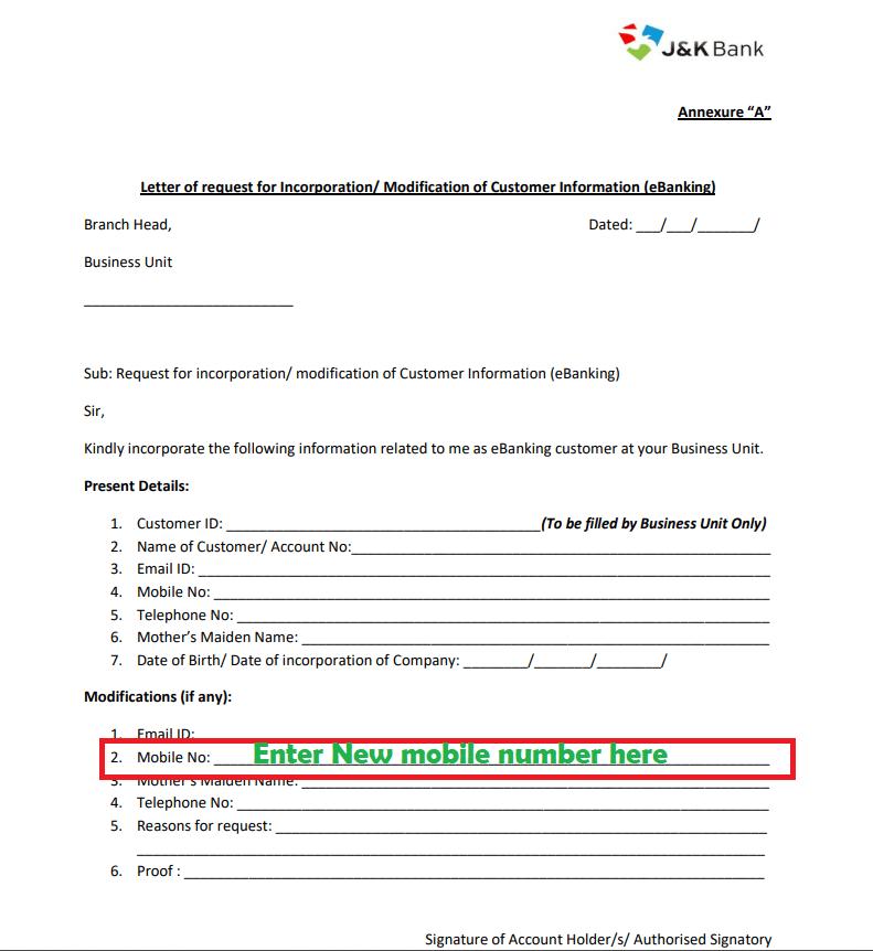 update mobile number otp form jk bank