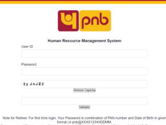 PNB Parivar HRMS Login Page