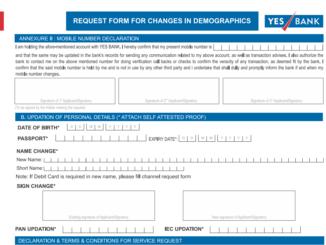 Register Change Mobile Number form for Yes Bank