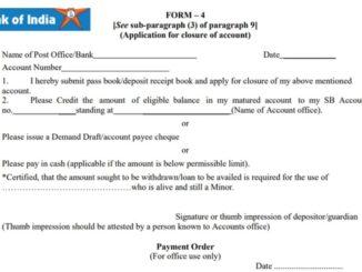 bank of india account closure form