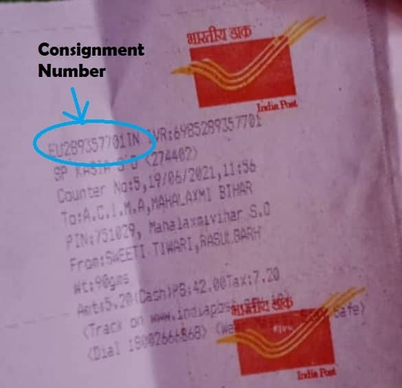 Consignment Number in Speed Post